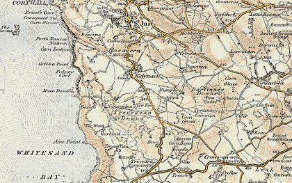 Old map of Kelynack in 1900