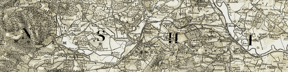 Old map of Wreaton in 1909-1910