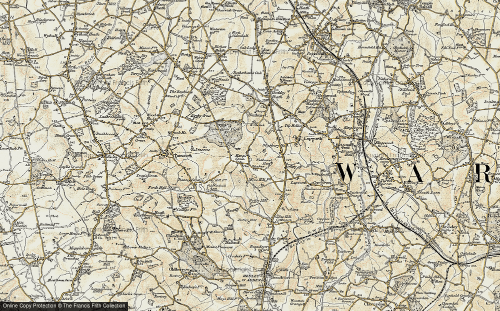 Old Map of Historic Map covering Lapworth Grange in 1901-1902