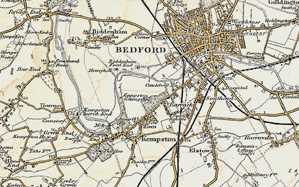 Old map of Kempston in 1898-1901