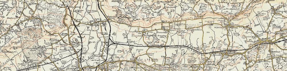 Old map of Kemsing in 1897-1898