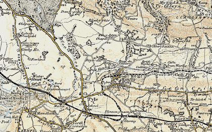 Old map of Kenfig Hill in 1900-1901