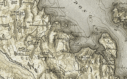 Old map of A' Bhainlir in 1908-1909
