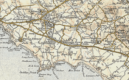 Old map of Kenneggy Downs in 1900