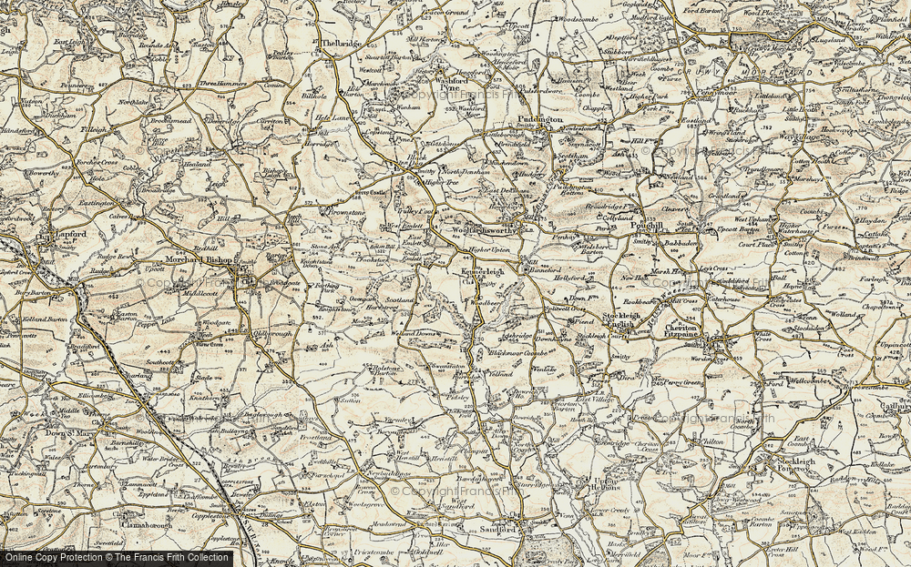 Old Map of Historic Map covering Woodbeer in 1899-1900