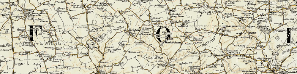 Old map of Woodcroft Hall in 1898-1901
