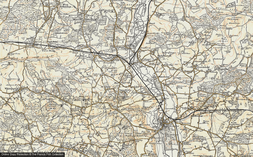 Old Map of Historic Map covering Awbridge Ho in 1897-1909