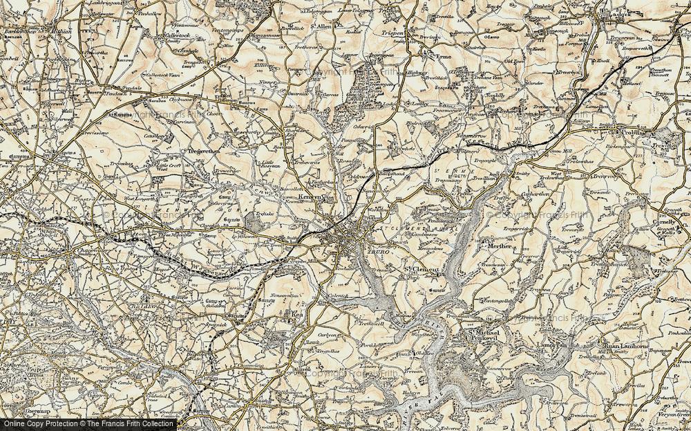 Old Map of Kenwyn, 1900 in 1900