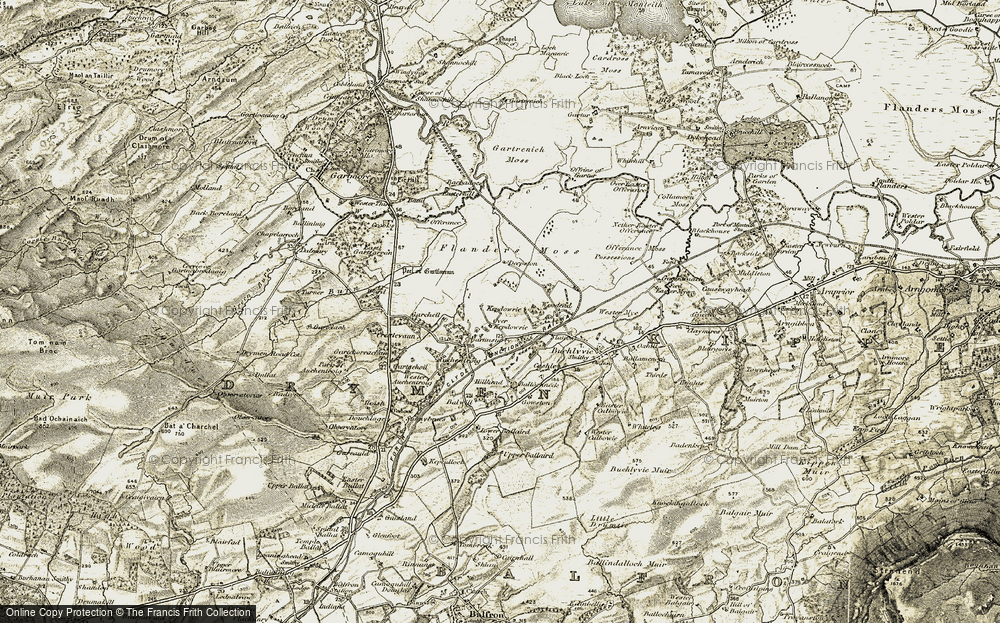 Old Map of Historic Map covering Auchentroig in 1904-1907