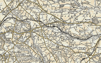 Old map of Kerley Downs in 1900
