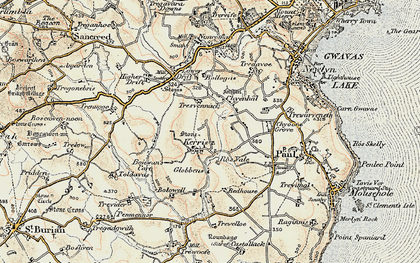 Old map of Kerris in 1900