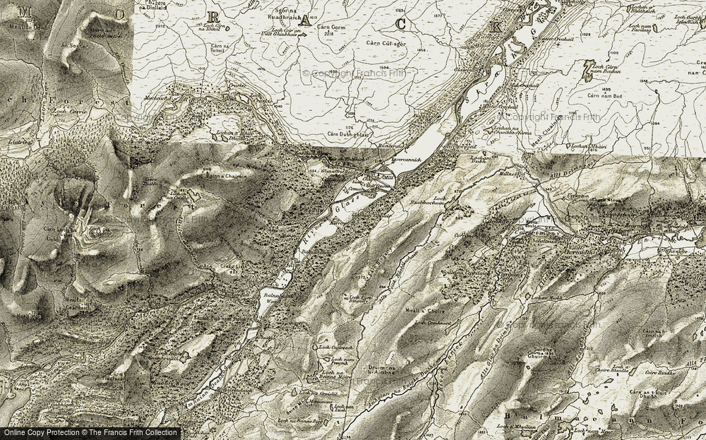 Old Map of Historic Map covering Allt Fèith Riabhachain in 1908-1912