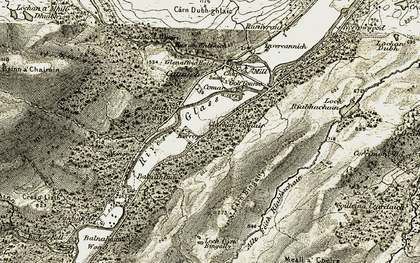 Old map of Allt Fèith Riabhachain in 1908-1912