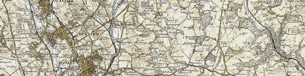 Old map of Wetley Moor in 1902