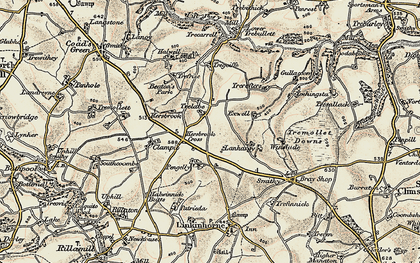 Old map of Kersbrook Cross in 1899-1900
