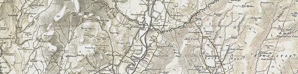 Old map of Tinnis Burn in 1901-1904