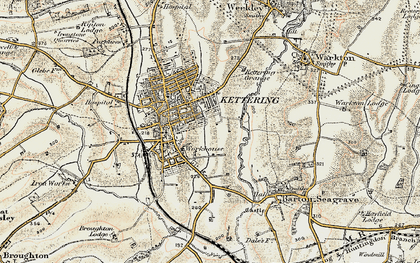 Old map of Kettering in 1901-1902