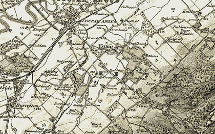 Old map of Lintrose Ho in 1907-1908