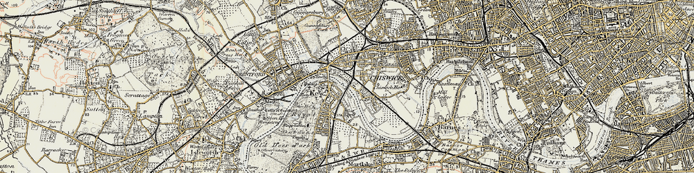 Old map of Kew in 1897-1909