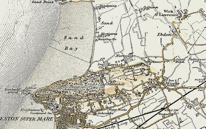 Old map of Kewstoke in 1899-1900
