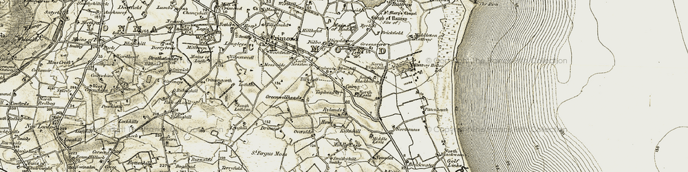 Old map of Tillyduff in 1909-1910