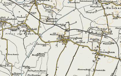 Old map of Keyingham in 1903-1908
