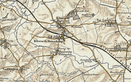 Old map of Kibworth Beauchamp in 1901-1902