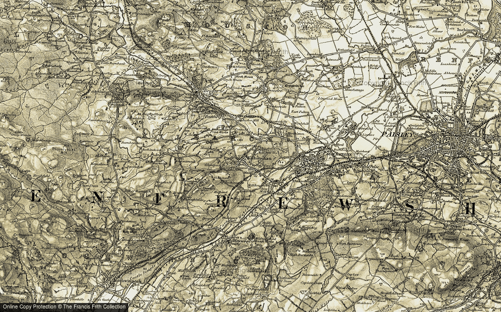 Old Map of Historic Map covering Law in 1905-1906