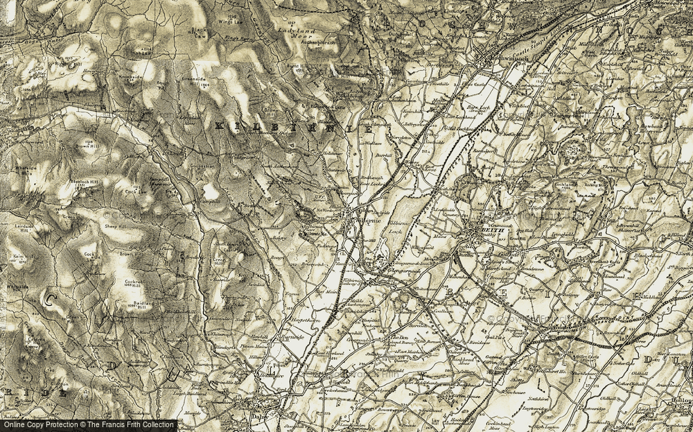 Old Map of Historic Map covering Auchenhain in 1905-1906
