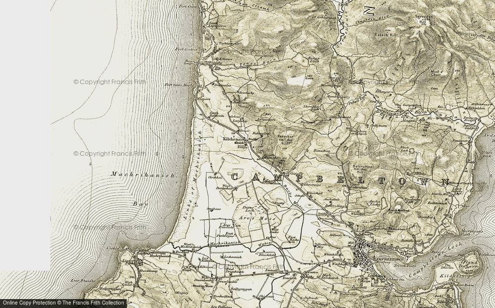 Old Map of Historic Map covering Links of Machrihanish in 1905