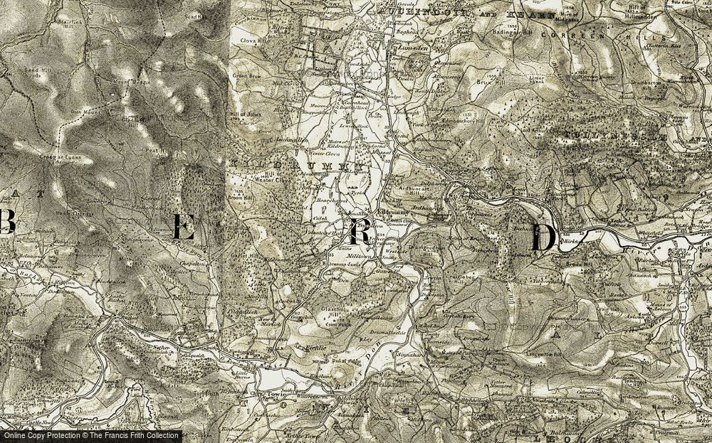 Old Map of Historic Map covering Auchmullen in 1908-1910