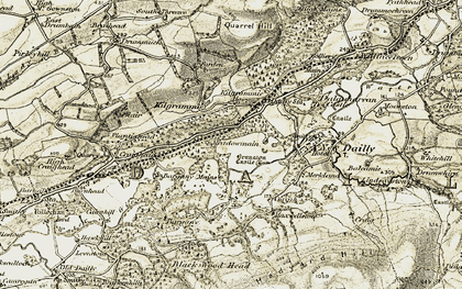 Old map of Bargany Mains in 1905