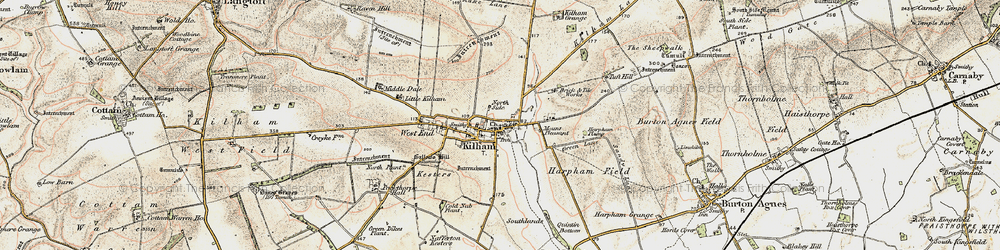 Old map of Kilham in 1903-1904