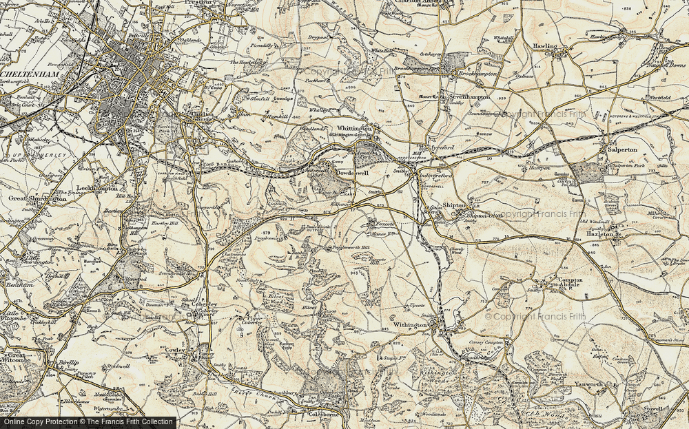 Old Map of Historic Map covering Lineover Wood in 1898-1900