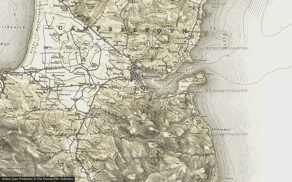 Old Map of Historic Map covering Achinhoan Hill in 1905-1906