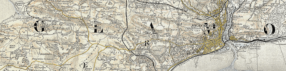 Old map of Killay in 1900-1901