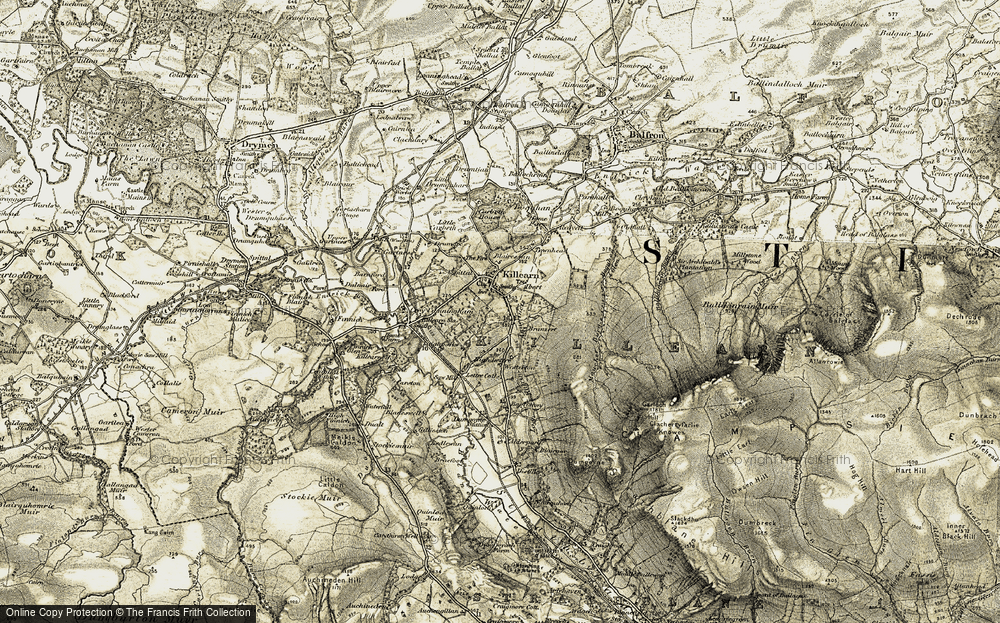 Old Map of Historic Map covering Auchenibert in 1904-1907