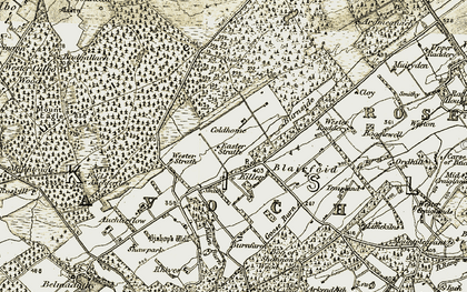 Old map of Wester Strath in 1911-1912