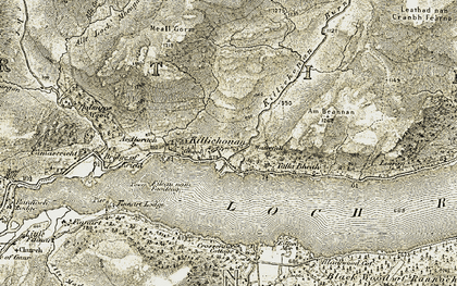 Old map of Tom an Stòil in 1906-1908