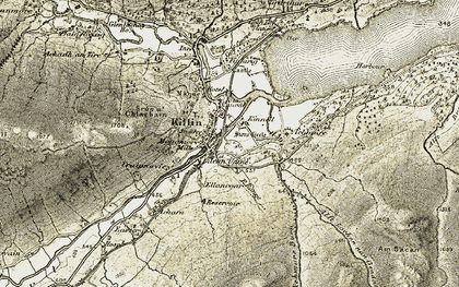Old map of Achmore Burn in 1906-1907