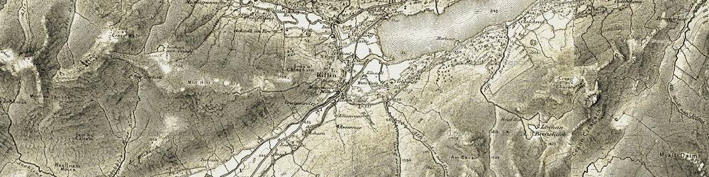 Old map of Allt Lochan nan Geadas in 1906-1907