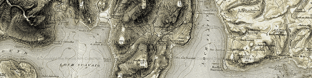 Old map of Abhainn Cille Mhaire in 1906-1909