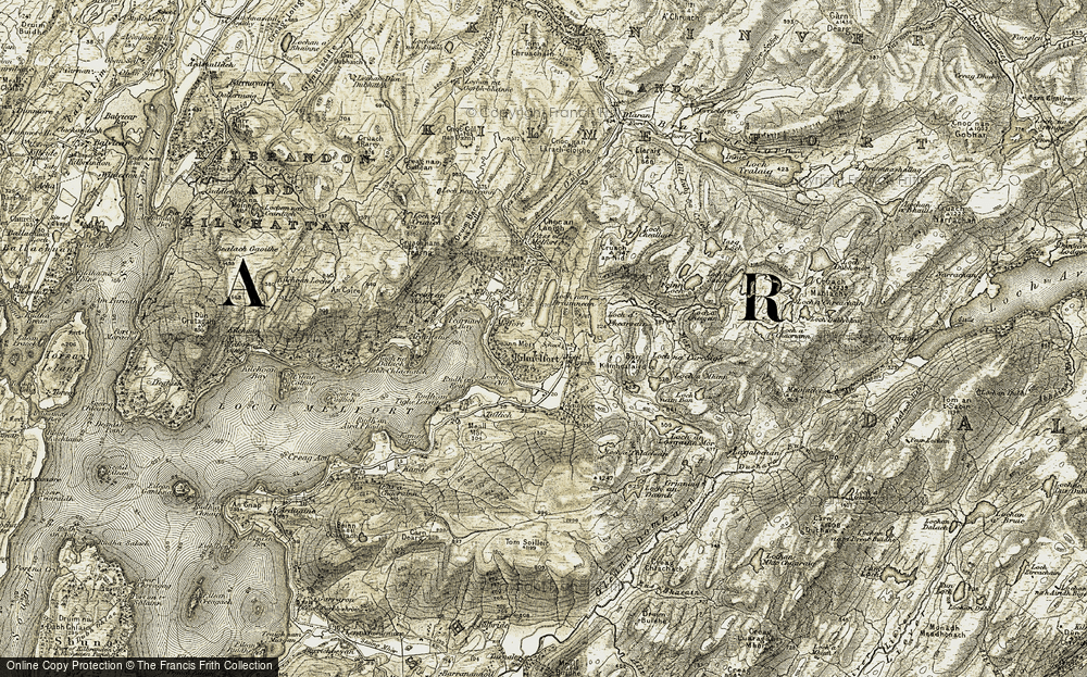 Old Map of Historic Map covering Allt Lub na Criche in 1906-1907