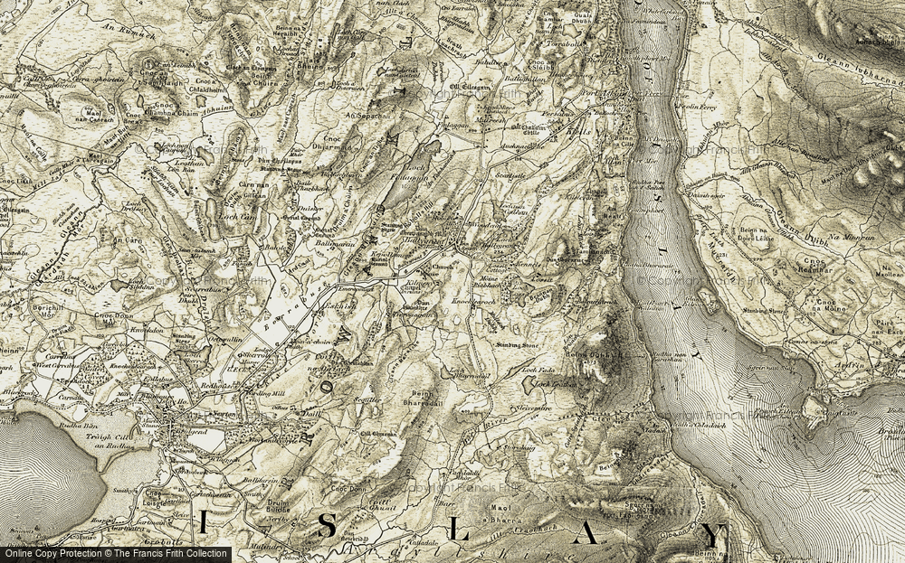 Old Map of Historic Map covering Ballygrant Burn in 1905-1907