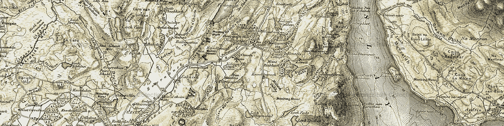 Old map of Tiervaagain in 1905-1907