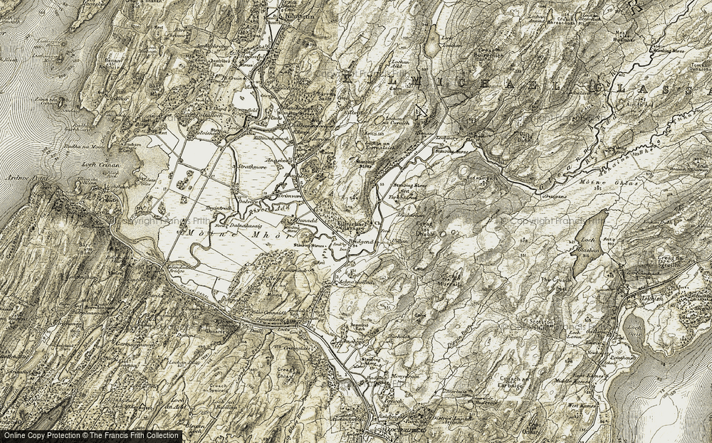 Old Map of Historic Map covering Bad nam Beith in 1906-1907