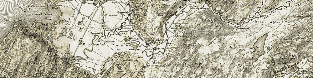 Old map of Leckuary in 1906-1907