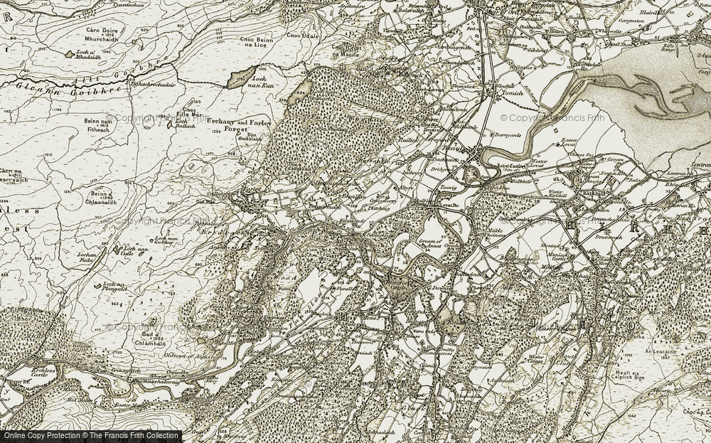 Old Map of Historic Map covering Ballachrask in 1908-1912