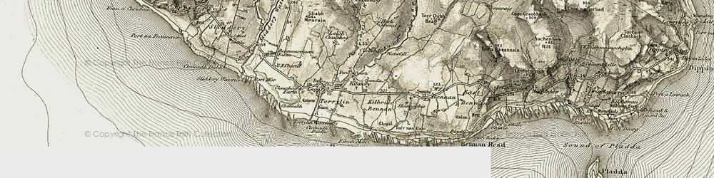 Old map of Allt Mòr Cloined in 1905-1906
