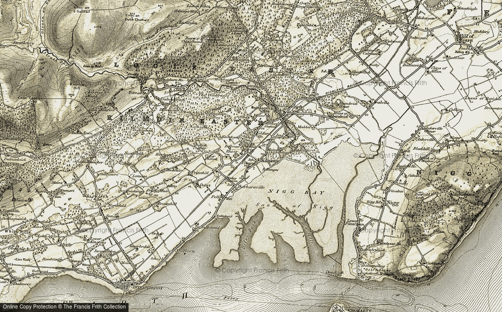 Old Map of Historic Map covering Auchoyle in 1911-1912